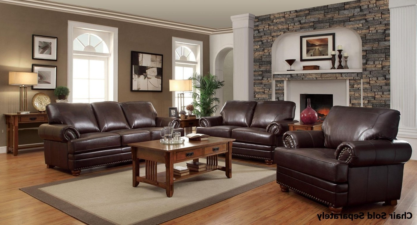 Brown Sofa Chairs Within Trendy Colton Brown Leather Sofa And Loveseat Set – Steal A Sofa (View 14 of 15)