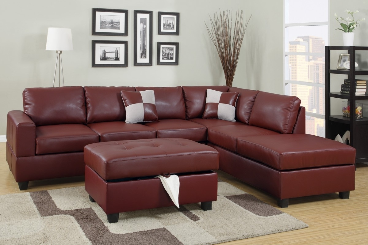 Burgundy Bonded Leather Sectional Sofa With Reversible Chaise Free Within Most Popular Leather Sectional Sofas With Ottoman (View 3 of 15)