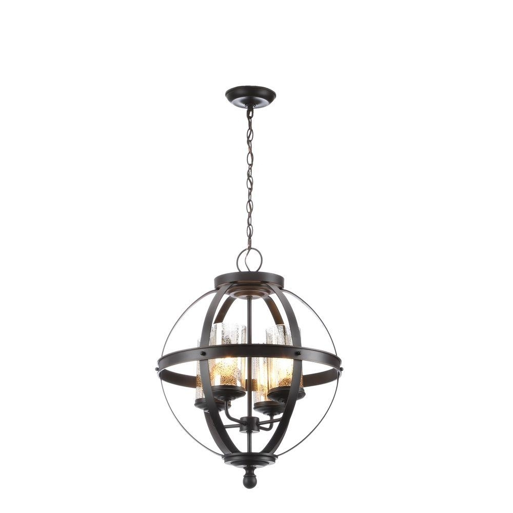 Cage Chandeliers For Popular Bronze – Cage – Chandeliers – Lighting – The Home Depot (View 2 of 15)