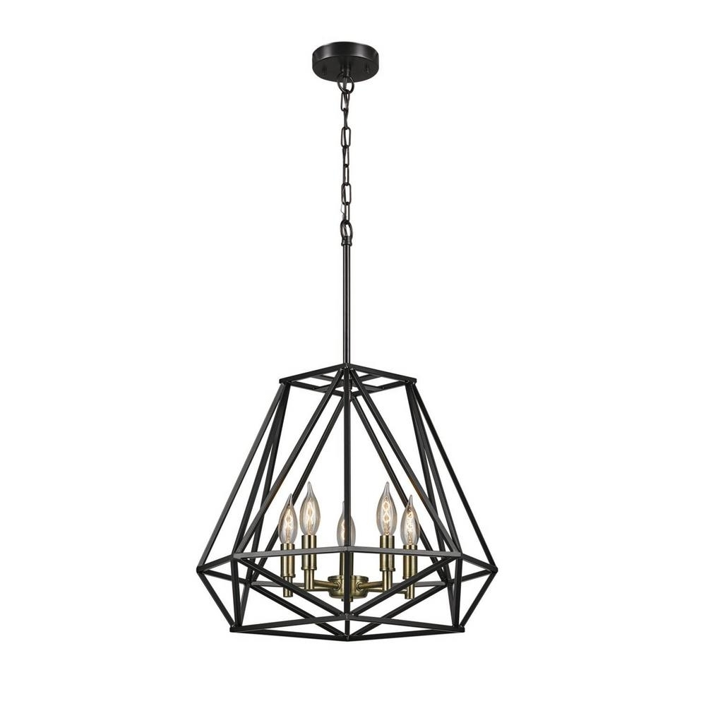 Cage Chandeliers Intended For Well Known Globe Electric Sansa 5 Light Dark Bronze Chandelier 65435 – The Home (View 1 of 15)