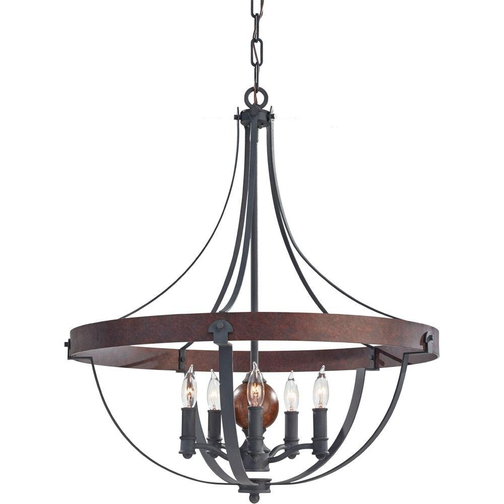 Cage Chandeliers With Preferred Bronze – Cage – Chandeliers – Lighting – The Home Depot (View 10 of 15)
