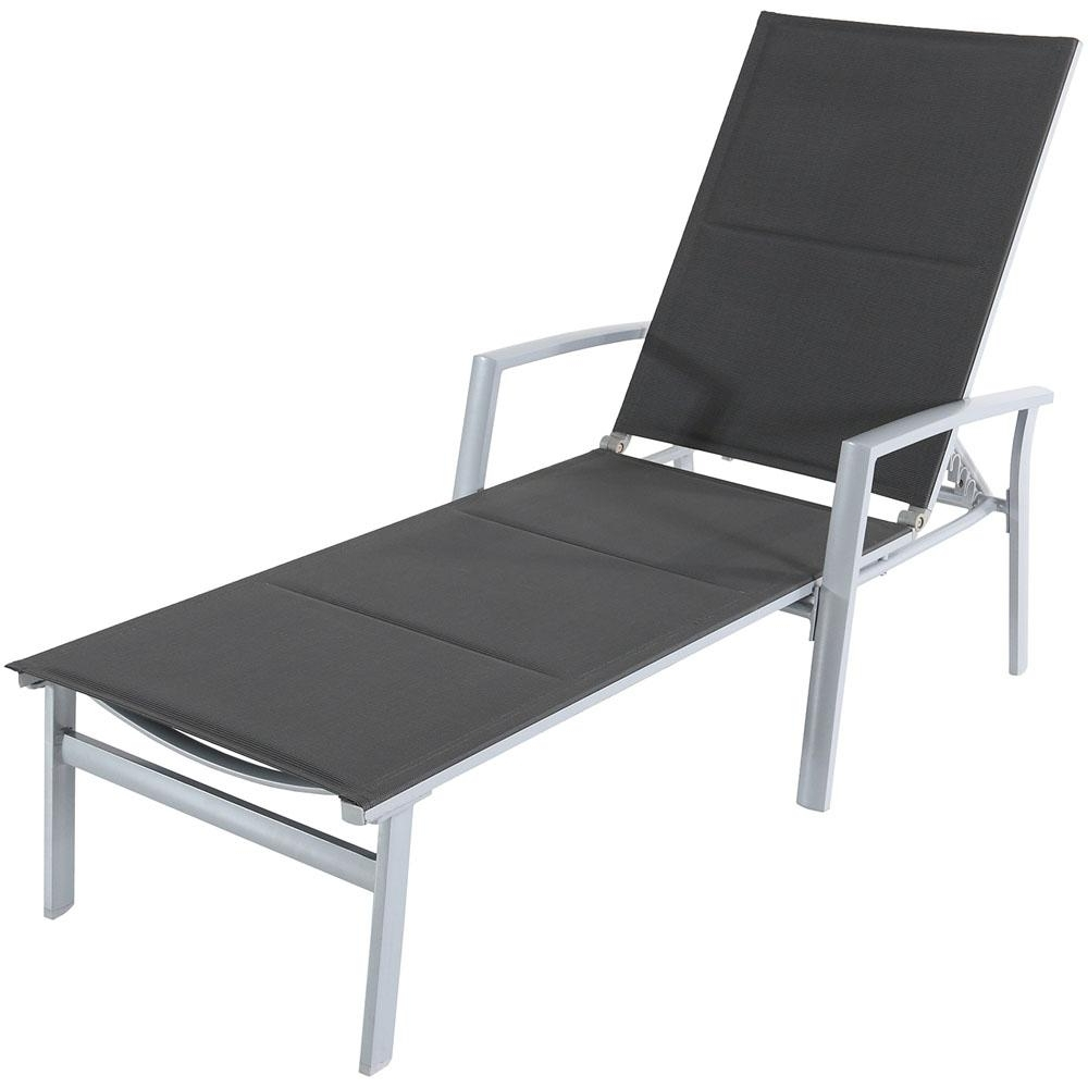 Cambridge Aluminum Outdoor Chaise Lounge With Padded Sling In Gray With Trendy White Outdoor Chaise Lounge Chairs (View 3 of 15)