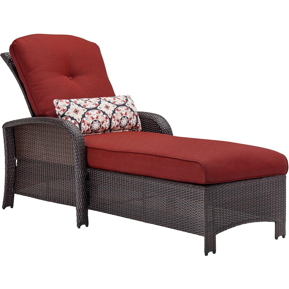 Cambridge Corolla Wicker Outdoor Chaise Lounge With Red Cushions Inside Well Known Red Chaise Lounges (View 15 of 15)