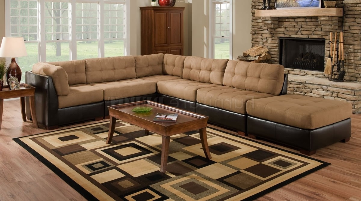 Camel Fabric Sectional Sofa W/dark Brown Faux Leather Base (View 14 of 15)