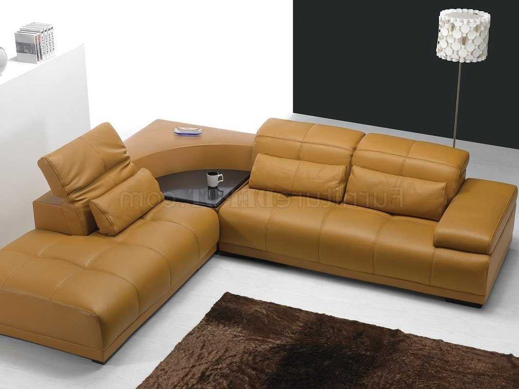 Camel Leather Modern Sectional Sofa 697 For Trendy Camel Sectional Sofas (View 8 of 15)