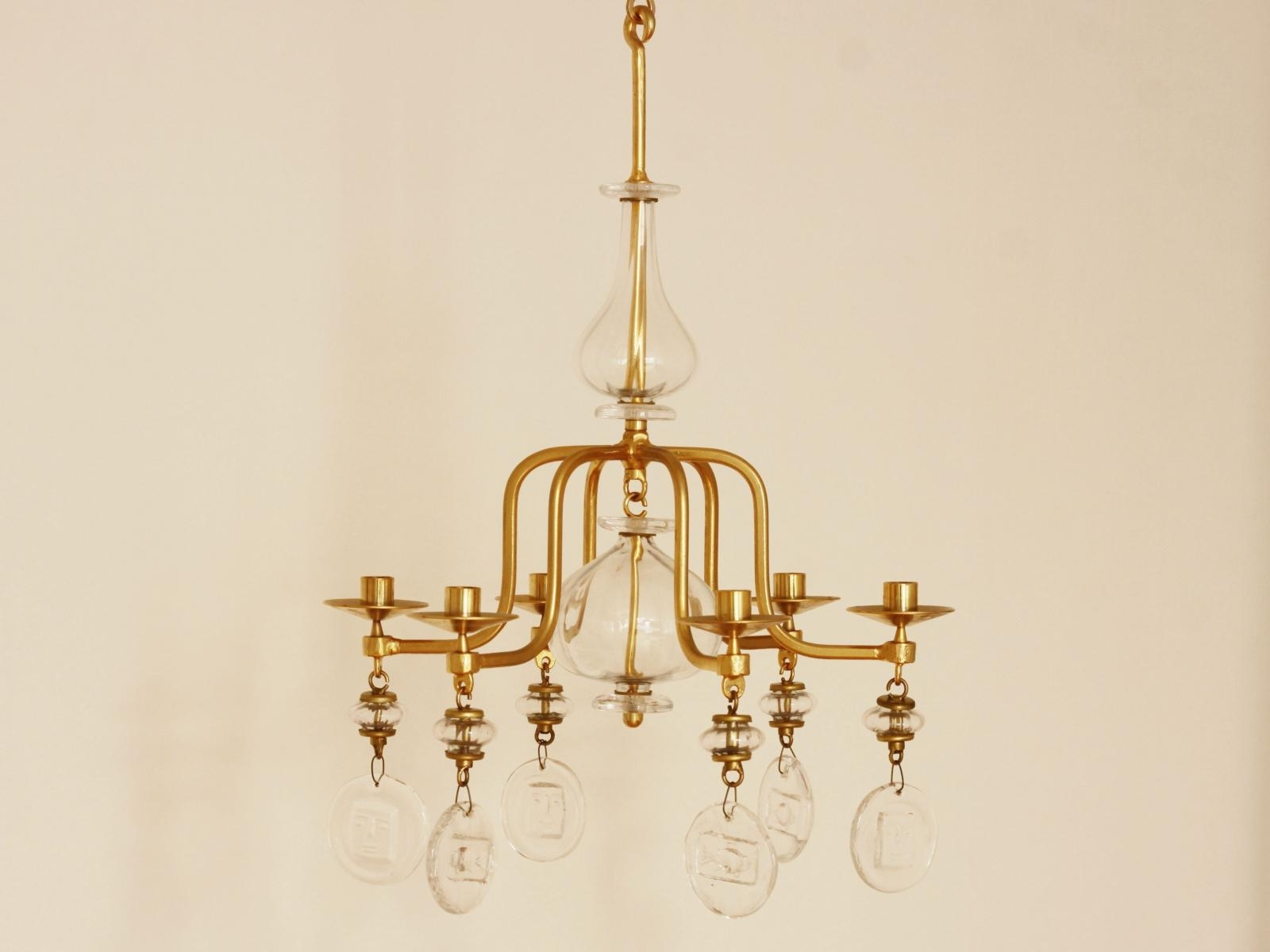 Candle Chandelier For Latest Large Mid Century Gilded Iron & Glass Candle Chandeliererik (View 3 of 15)