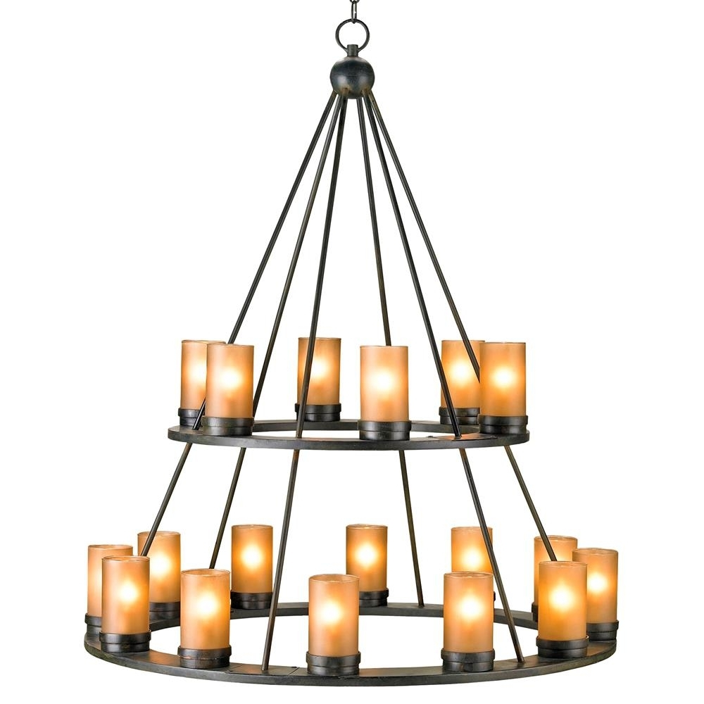 Candle Chandelier In Well Known Black Wrought Iron Rustic Lodge Tiered 18 Light Candle Chandelier (View 4 of 15)