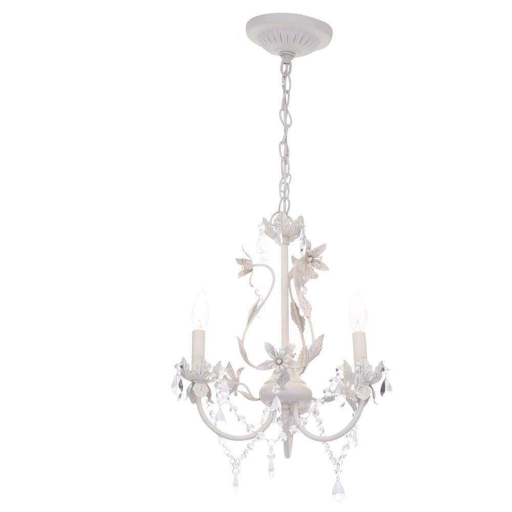 Candle Light Chandelier Regarding Fashionable Hampton Bay Kristin 3 Light Antique White Hanging Mini Chandelier (View 13 of 15)