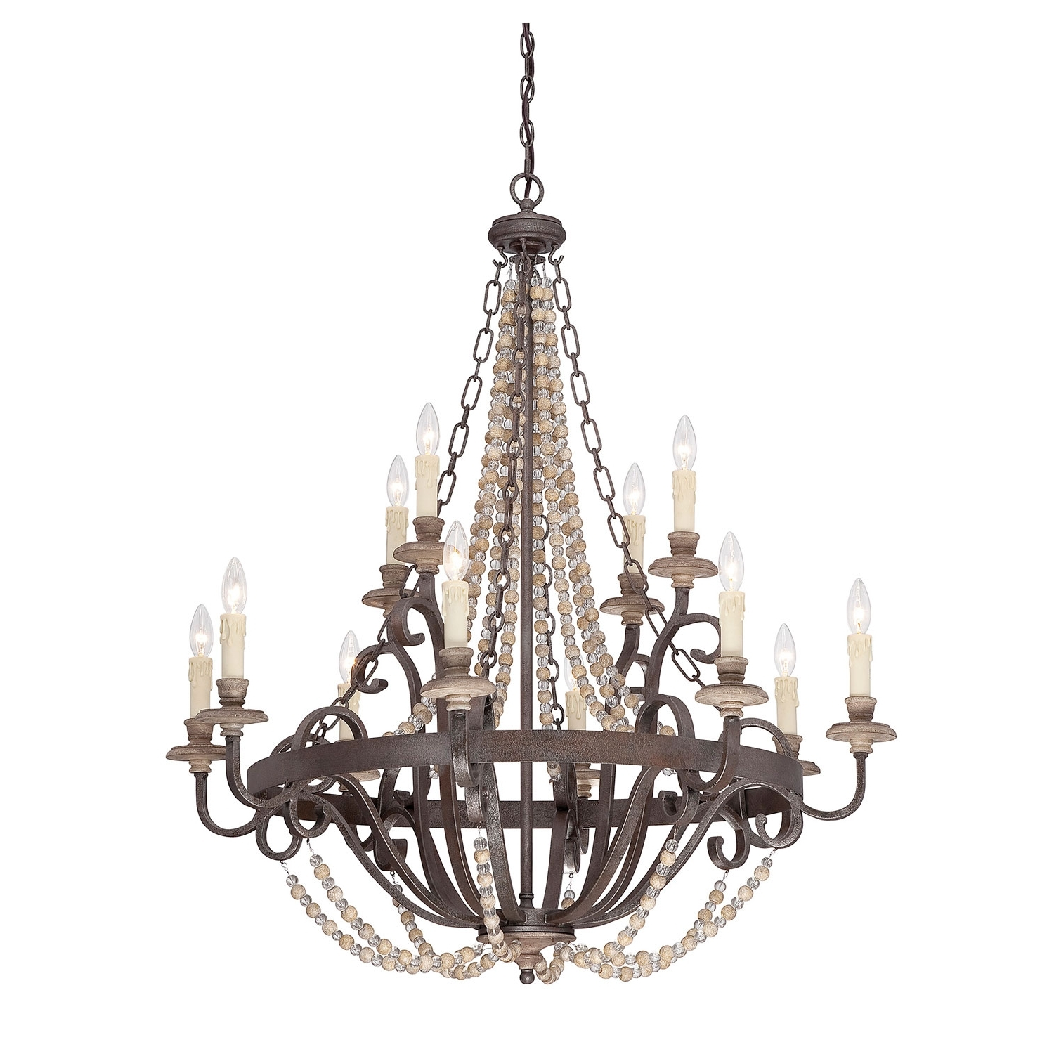 Candle Light Chandelier Regarding Widely Used Savoy House Mallory Bronze 12 Light Chandelier On Sale (View 3 of 15)