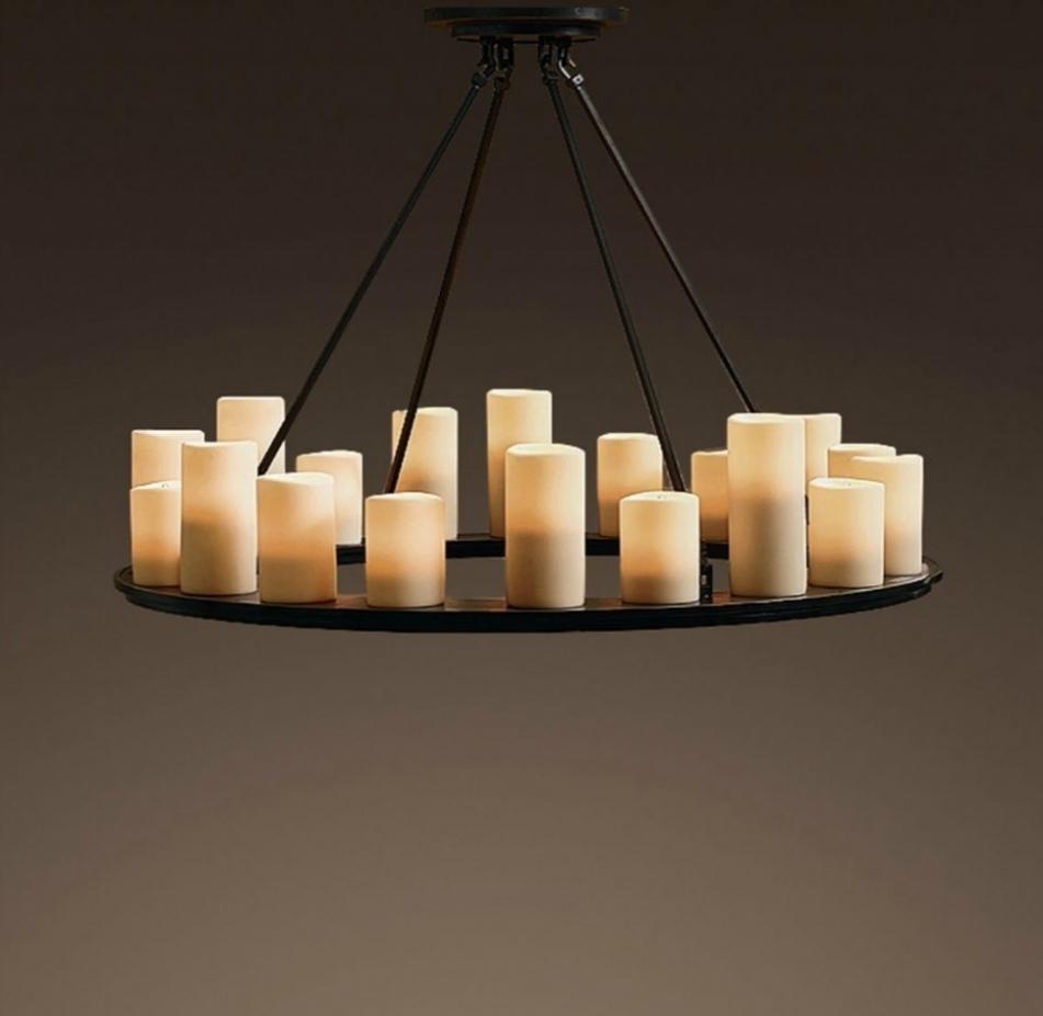 Candle Look Chandeliers Regarding Recent Real Pillar Candle Chandelier – Chandelier Designs (View 2 of 15)