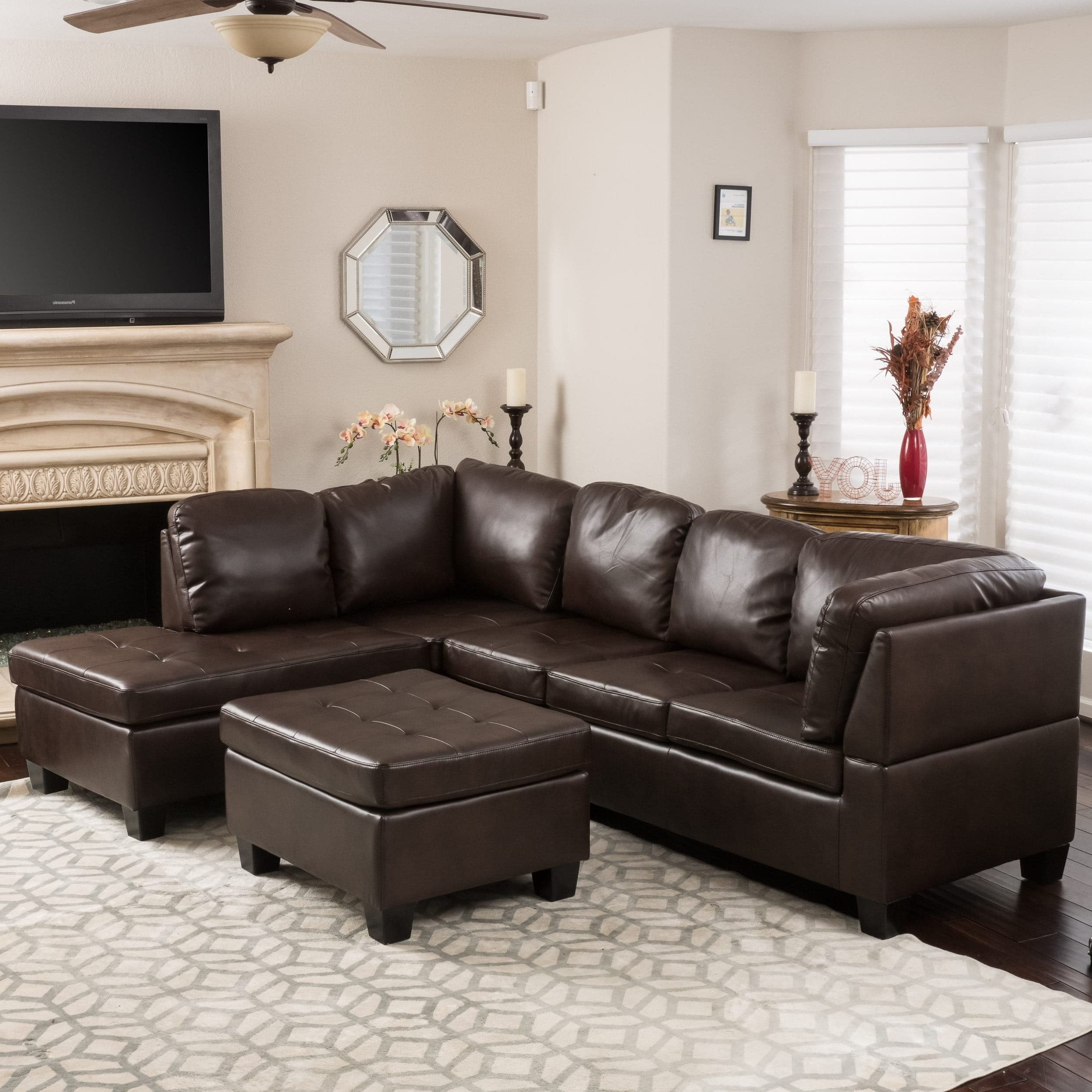 Canterbury 3 Piece Pu Leather Sectional Sofa Setchristopher For Latest Canterbury Leather Sofas (View 3 of 15)