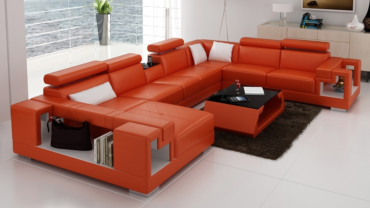 Casa 6138 Modern Orange And White Leather Sectional Sofa Throughout Fashionable Orange Sectional Sofas (View 4 of 15)