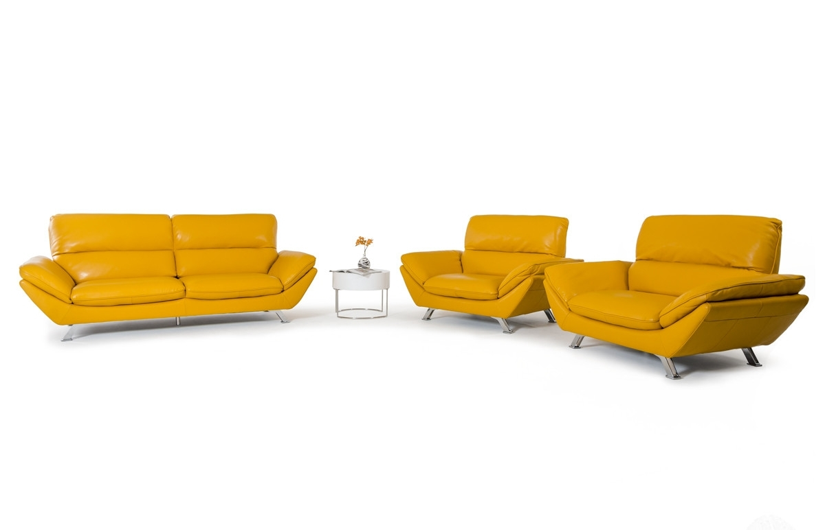 Casa Daffodil Modern Yellow Italian Leather Sofa Set Pertaining To Most Up To Date Yellow Sofa Chairs (View 13 of 15)