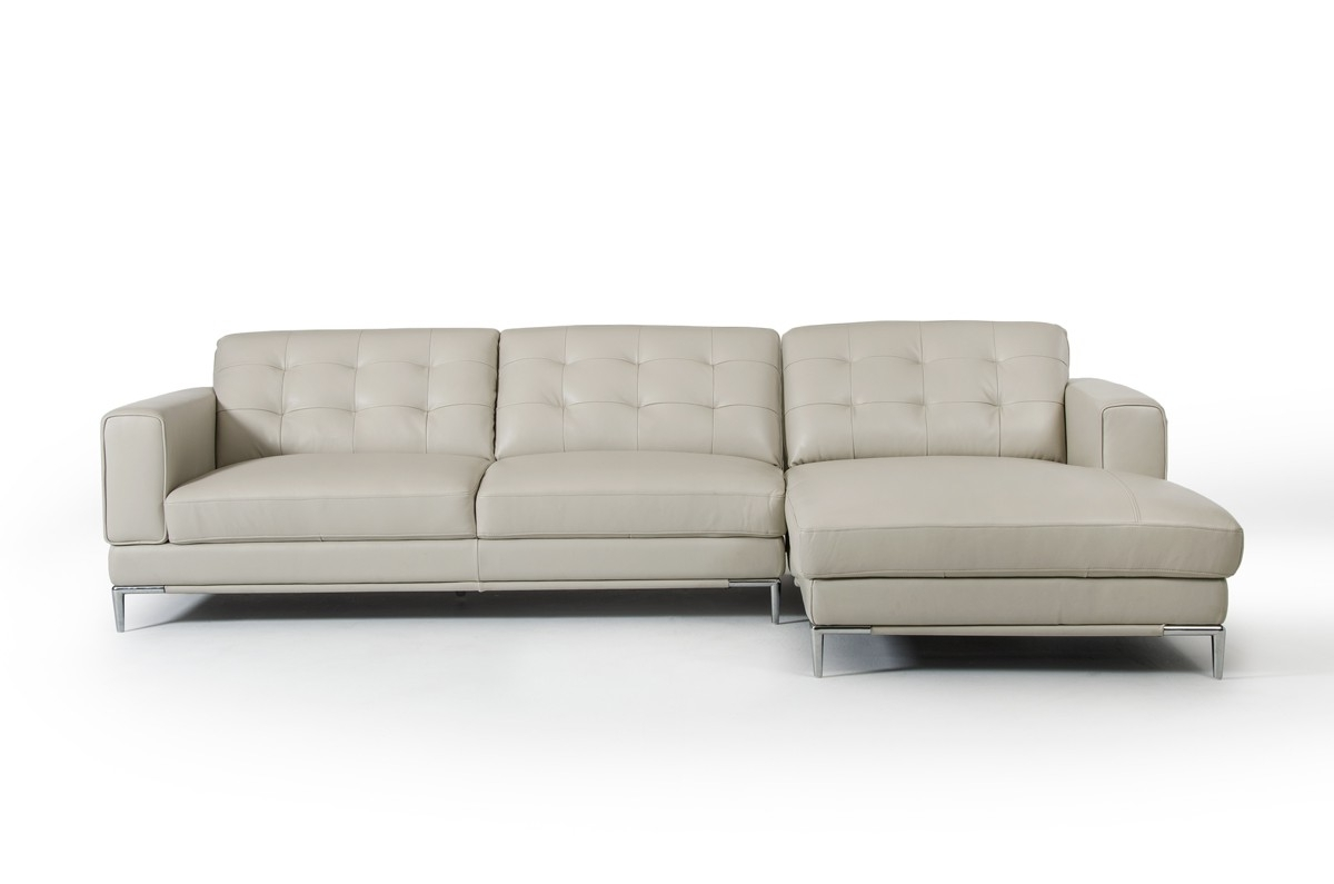 Casa Larkspur Modern Light Grey Leather Sectional Sofa For Widely Used Grey Sofa Chaises (View 3 of 15)