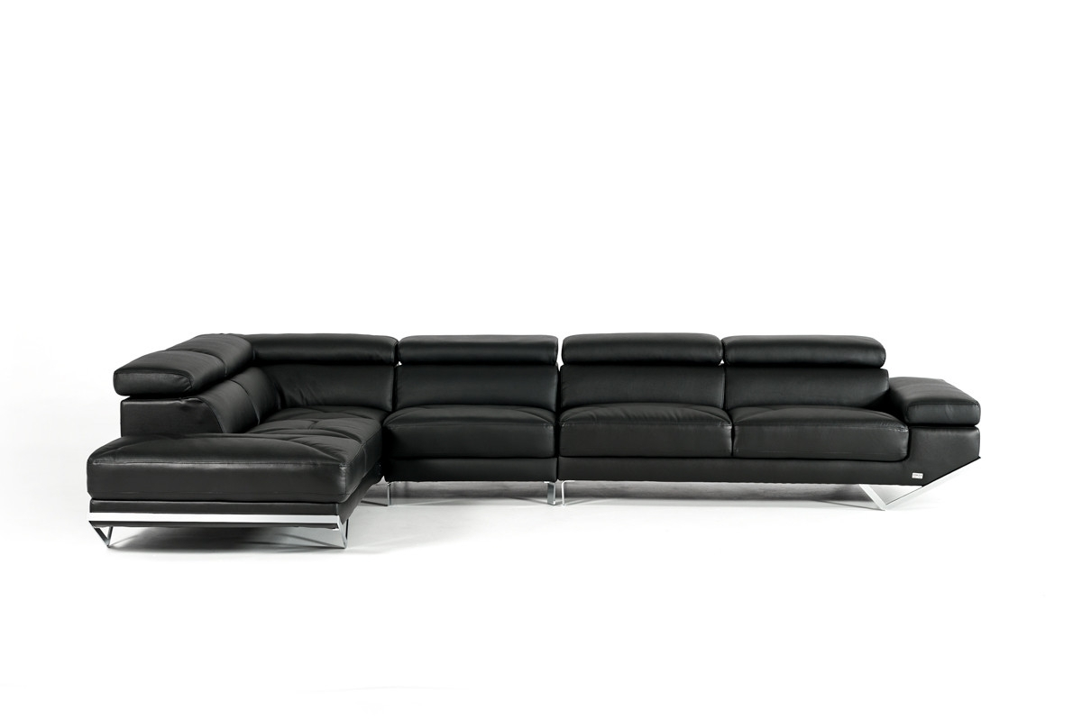 Casa Quebec Modern Black Eco Leather Sectional Sofa Inside Fashionable Quebec Sectional Sofas (View 5 of 15)