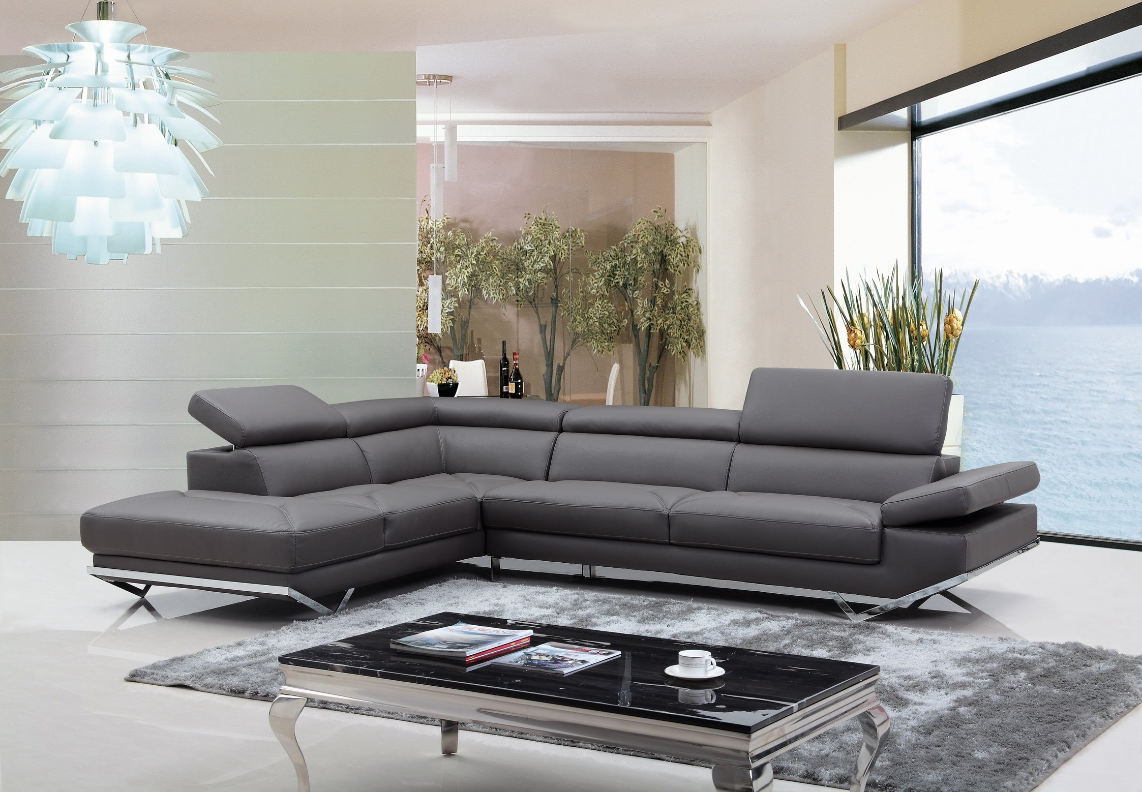 Casa Quebec Modern Dark Grey Eco Leather Sectional Sofa Regarding Most Popular Quebec Sectional Sofas (View 2 of 15)