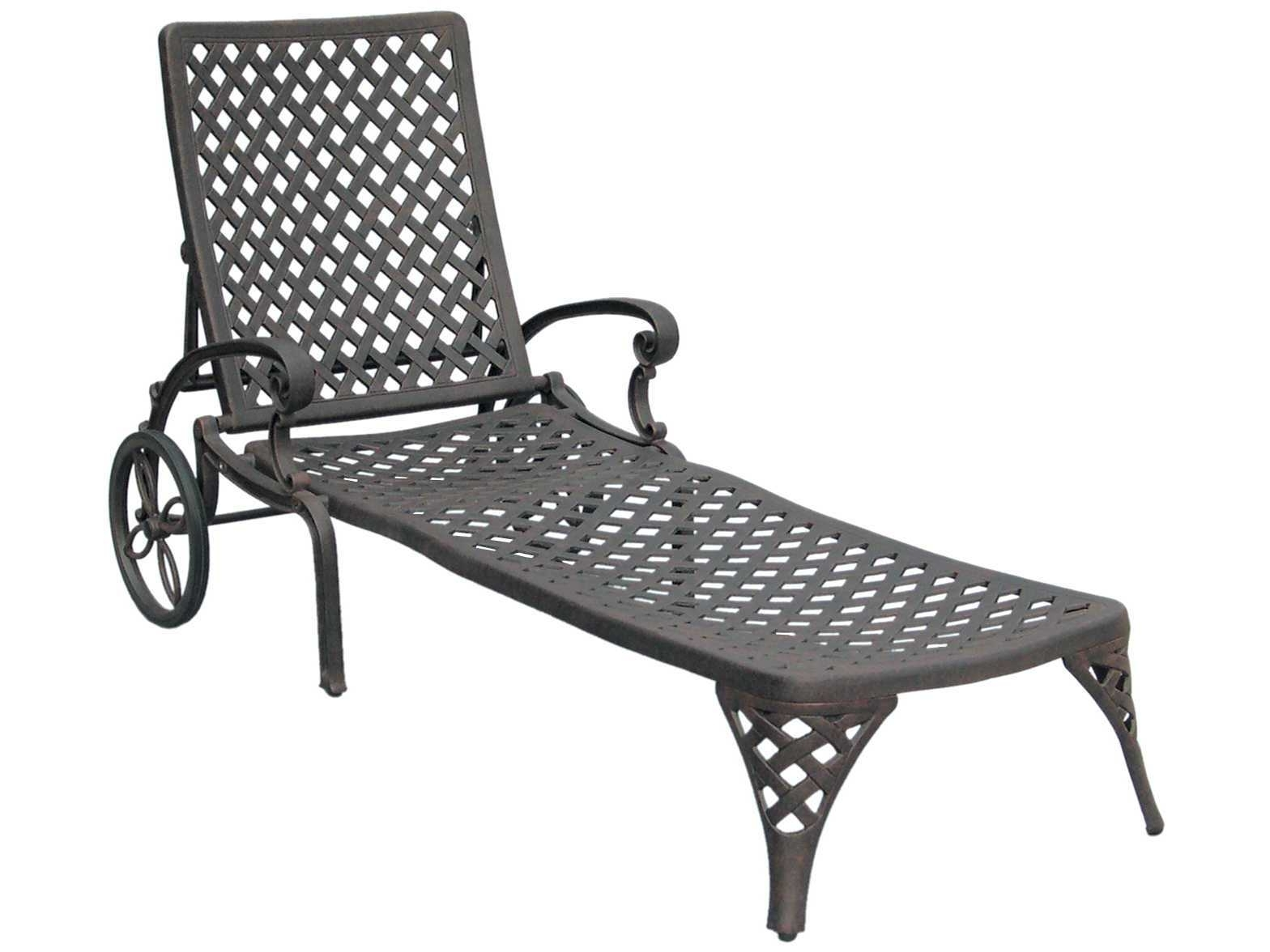 Cast Aluminum Chaise Lounges With Wheels Pertaining To 2017 Darlee Outdoor Living Standard Nassau Cast Aluminum Antique Bronze (View 6 of 15)