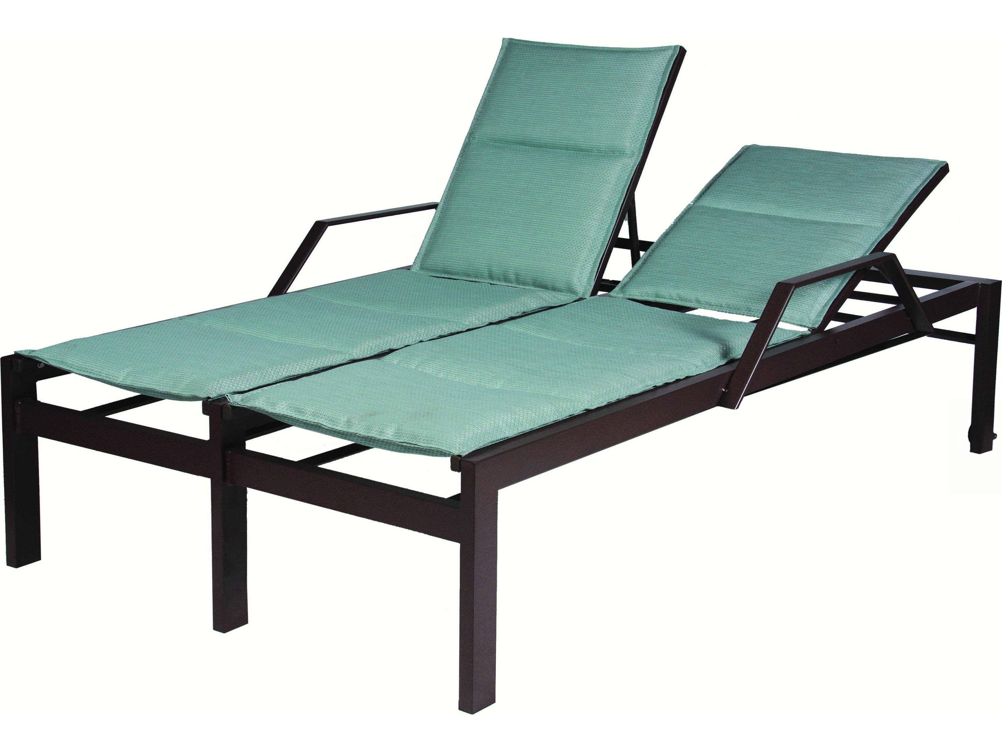 Cast Aluminum Chaise Lounges With Wheels Pertaining To Current Suncoast Vectra Bold Sling Cast Aluminum Double Chaise Lounge With (View 7 of 15)
