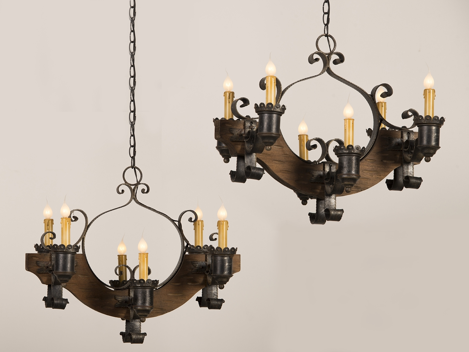 Cast Iron Antique Chandelier Throughout 2018 Antique And Vintage Pair Old Wood Chandeliers With Black Cast Iron (View 4 of 15)