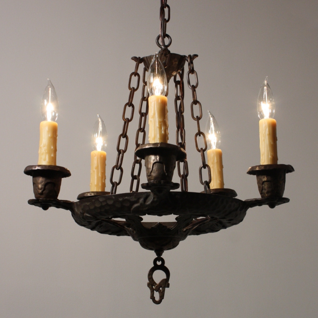 Cast Iron Antique Chandelier Throughout 2018 Handsome Antique Five Light Tudor Chandelier, Cast Iron, Nc1650 Rw (View 2 of 15)
