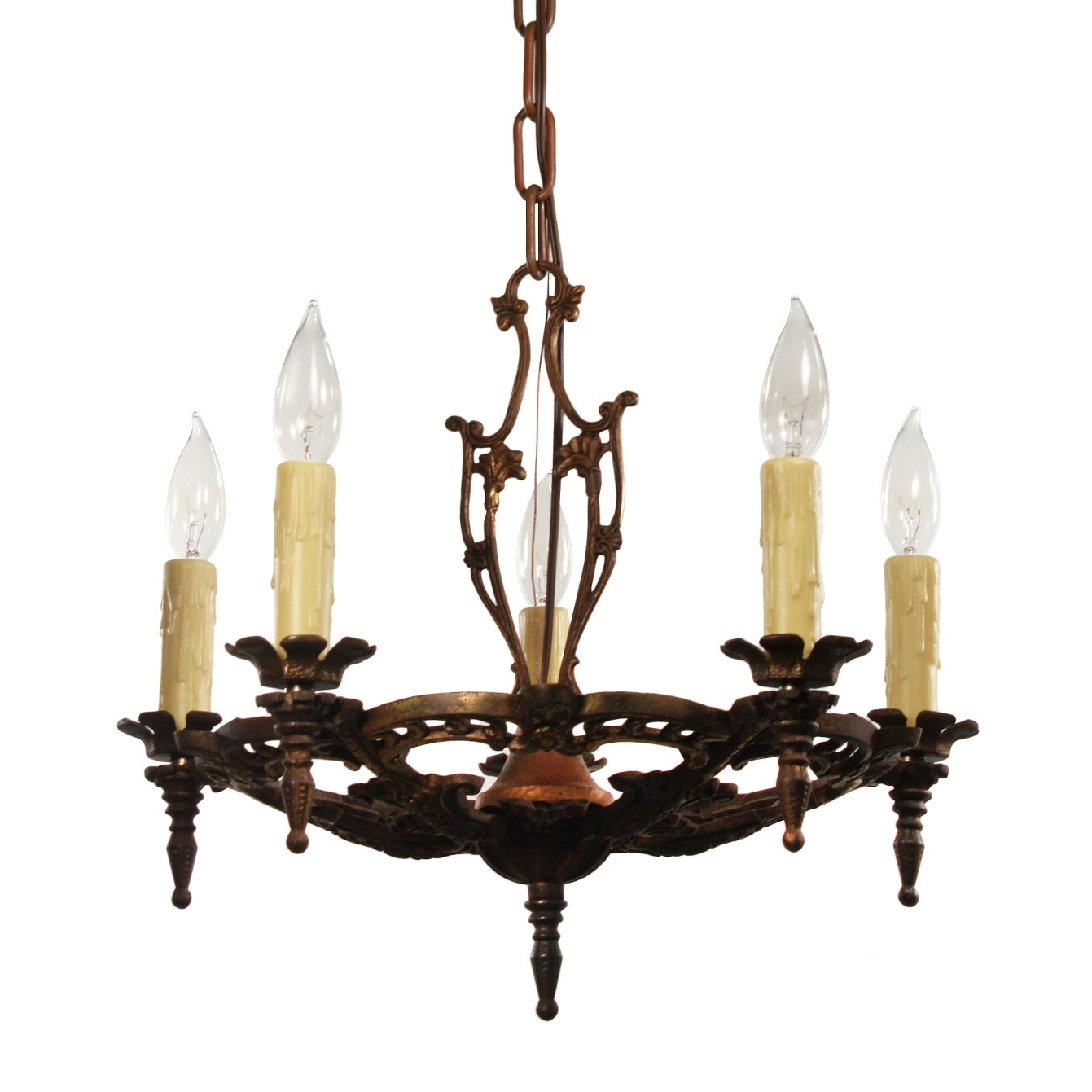 Cast Iron Antique Chandelier Within Best And Newest Antique Chandelier In Cast Iron, Antique Lighting – Preservation (View 8 of 15)