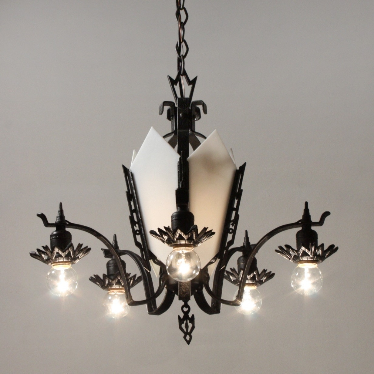 Cast Iron Chandelier Intended For Newest Antique Art Deco Cast Iron Chandelier, C (View 4 of 15)