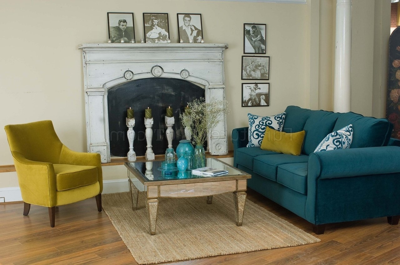 Casual Fabric Living Room Blue Sofa & Golden Green Chair Set For Fashionable Casual Sofas And Chairs (View 1 of 15)