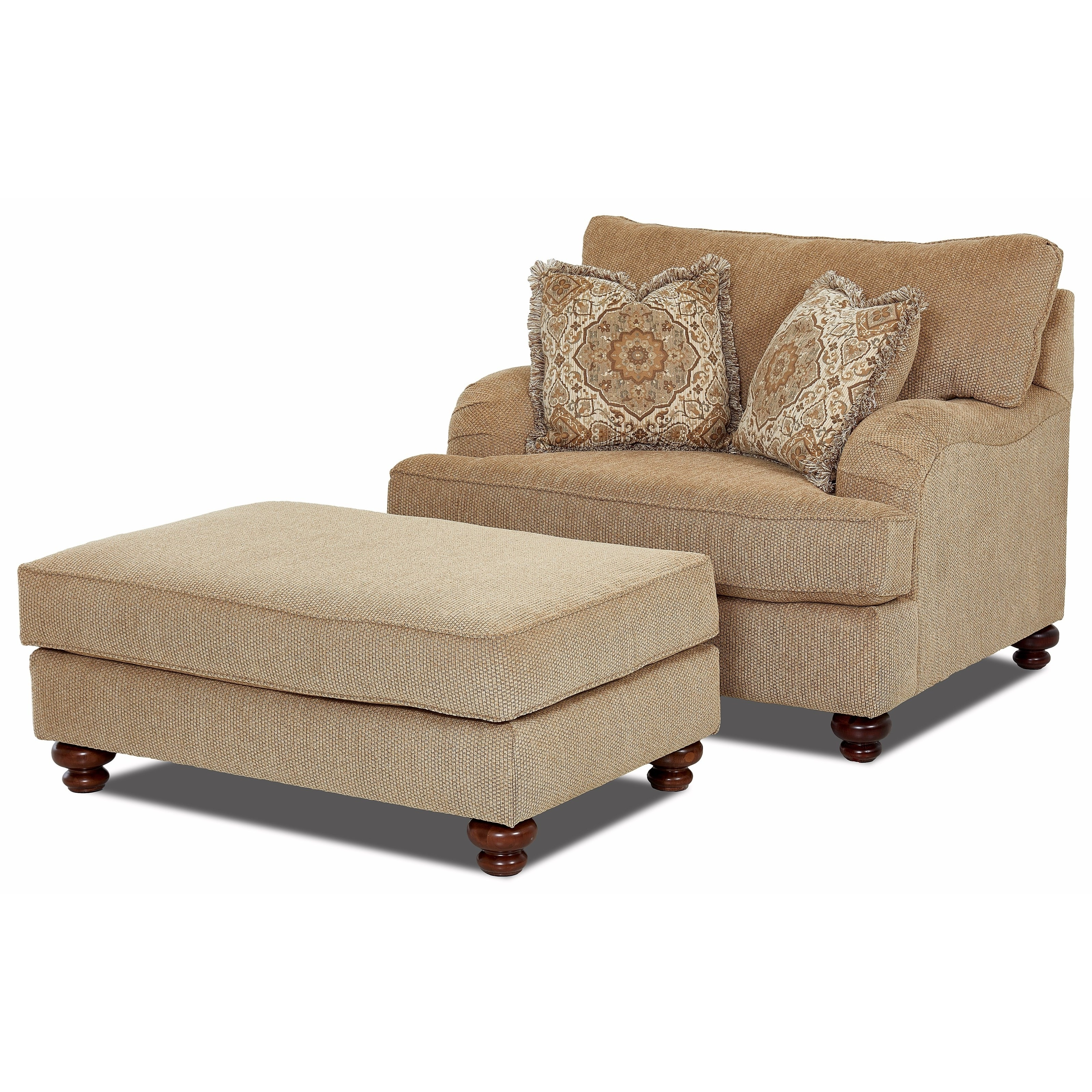 Chairs With A Half Chaise With Newest Klaussner Declan Oversized Chair And Ottoman Set (View 5 of 15)