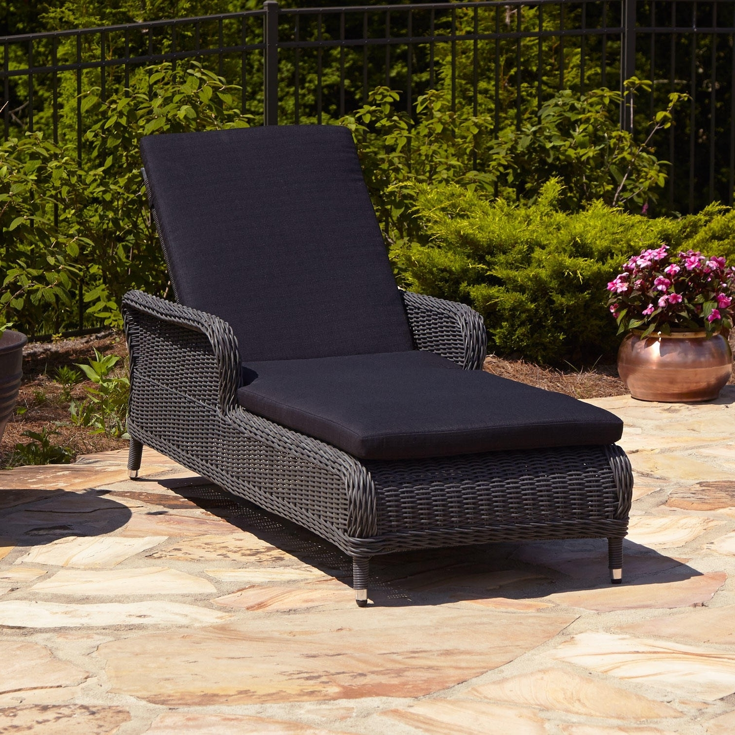 Chaise Lounge Chairs With Cushions Regarding Newest Remarkable Wicker Chaise Lounge Chair Gray Patio Furniture All (View 6 of 15)