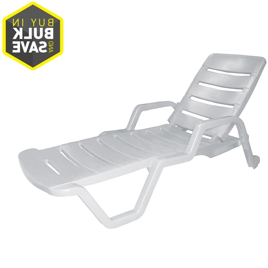 Chaise Lounge Lawn Chairs With Regard To Latest Adams Mfg Corp White Resin Stackable Patio Chaise Lounge Chair  (View 6 of 15)