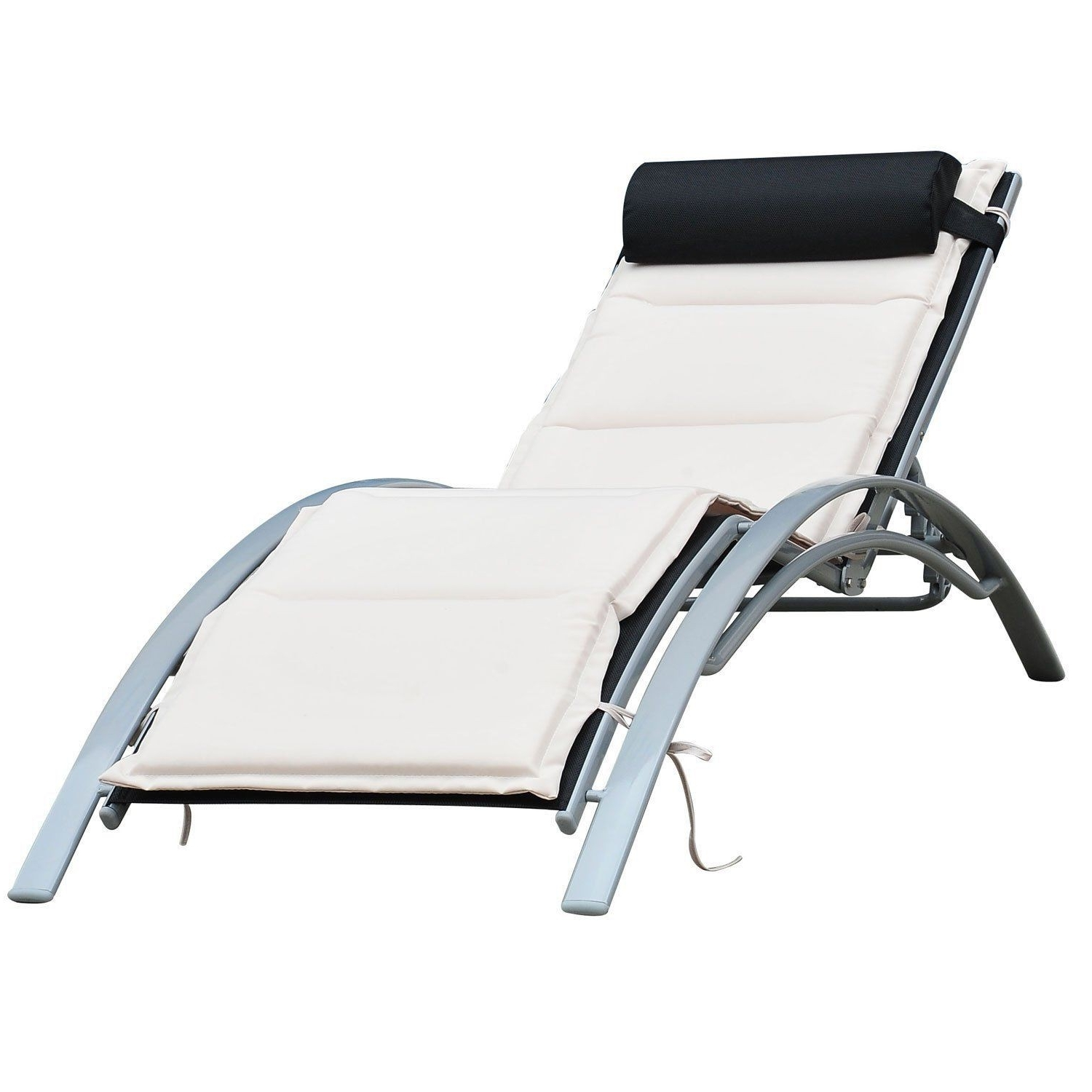 Chaise Lounge Reclining Chairs For Outdoor For Well Known Outsunny Patio Reclining Chaise Lounge Chair With Cushion – Black (View 3 of 15)