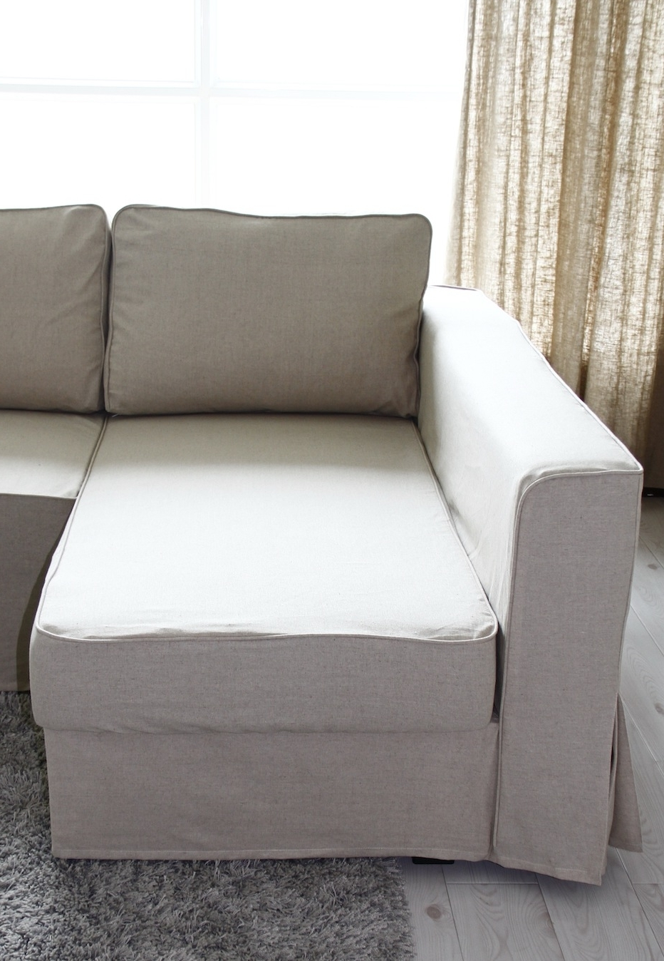 Chaise Lounge Sofa Covers Regarding Widely Used Fit Linen Manstad Sofa Slipcovers Now Available (View 13 of 15)