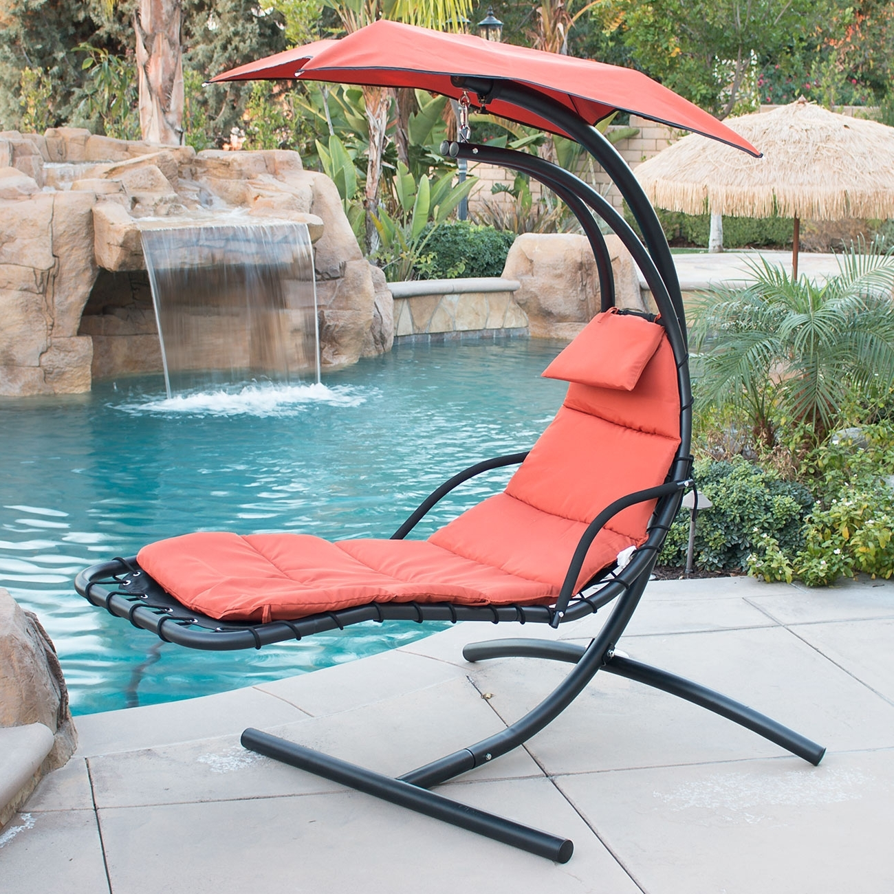 Chaise Lounge Swing Chairs Regarding Well Liked Hanging Chaise Lounger Chair Arc Stand Air Porch Swing Hammock (View 3 of 15)