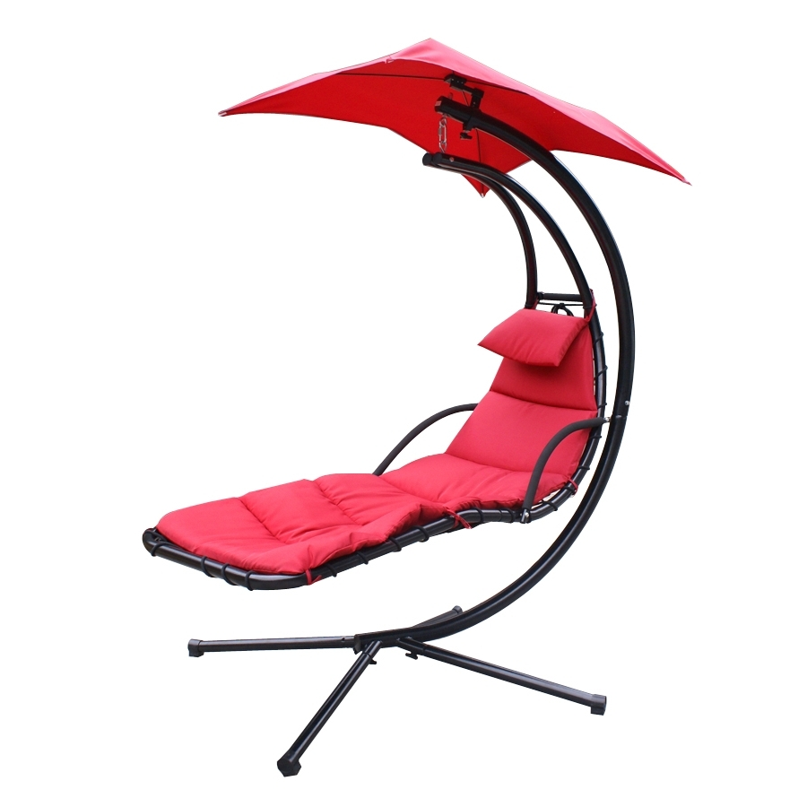 Chaise Lounger Hanging Chair Arc Stand Air Porch Swing Hammock With 2018 Hanging Chaise Lounge Chairs (View 3 of 15)