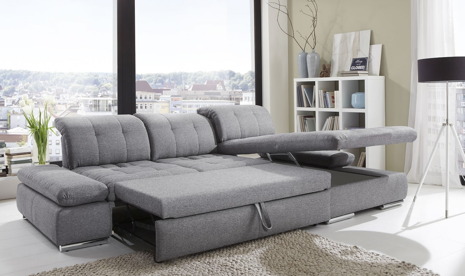 Chaise Sleeper Sofas With Well Known Alpine Sectional Sleeper Sofa, Left Arm Chaise Facing, Black (View 7 of 15)