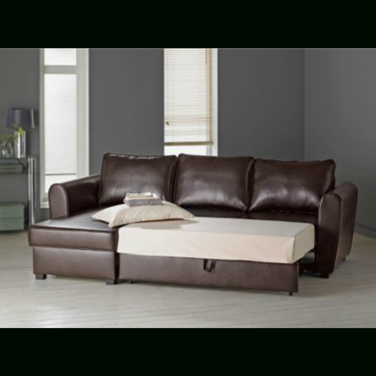 Chaise Sofa Beds With Storage Inside Well Liked Siena Leather Effect Corner Sofa Bed With Storage  Chocolate (View 3 of 15)