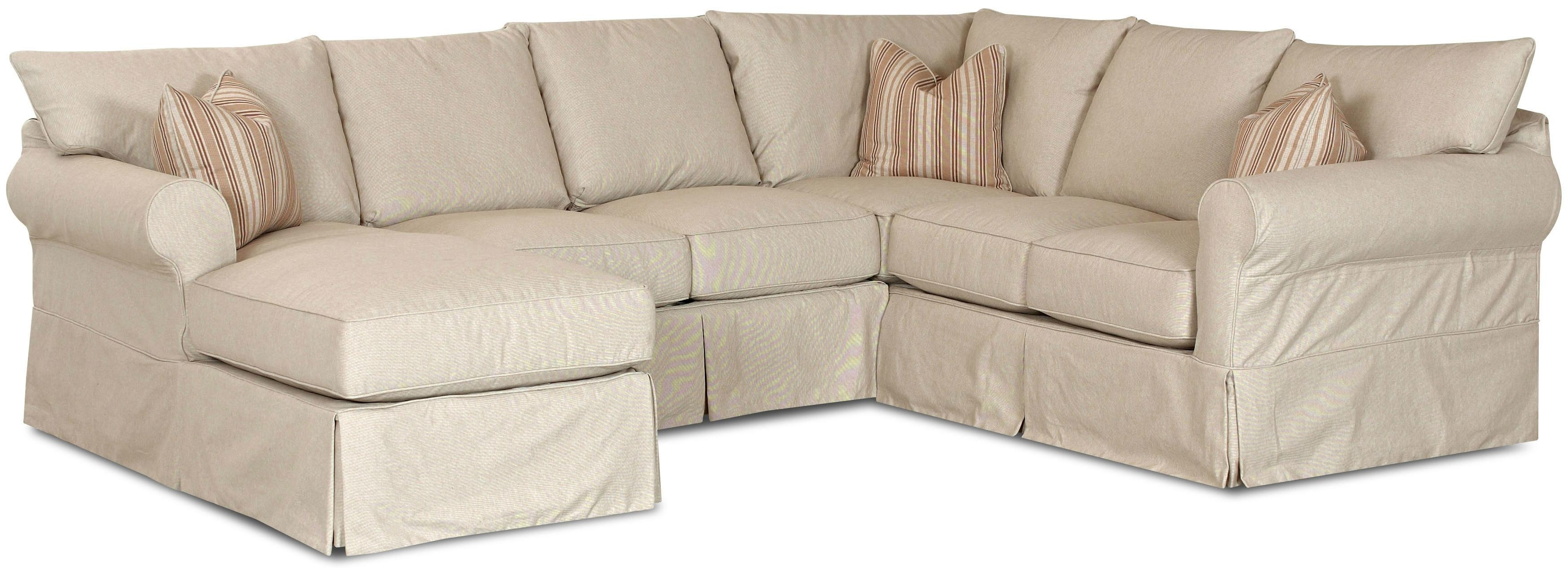 Chaise Sofa Covers Within Recent Klaussner Jenny Slip Cover Sectional Sofa With Right Chaise – Ahfa (View 8 of 15)