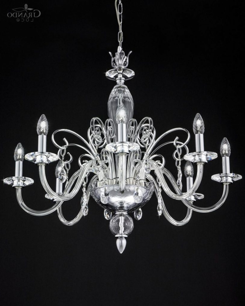 Chandelier ~ 120/ch 8 Chrome Crystal Chandelier With Swarovski Intended For Well Known Chrome And Crystal Chandeliers (View 4 of 15)