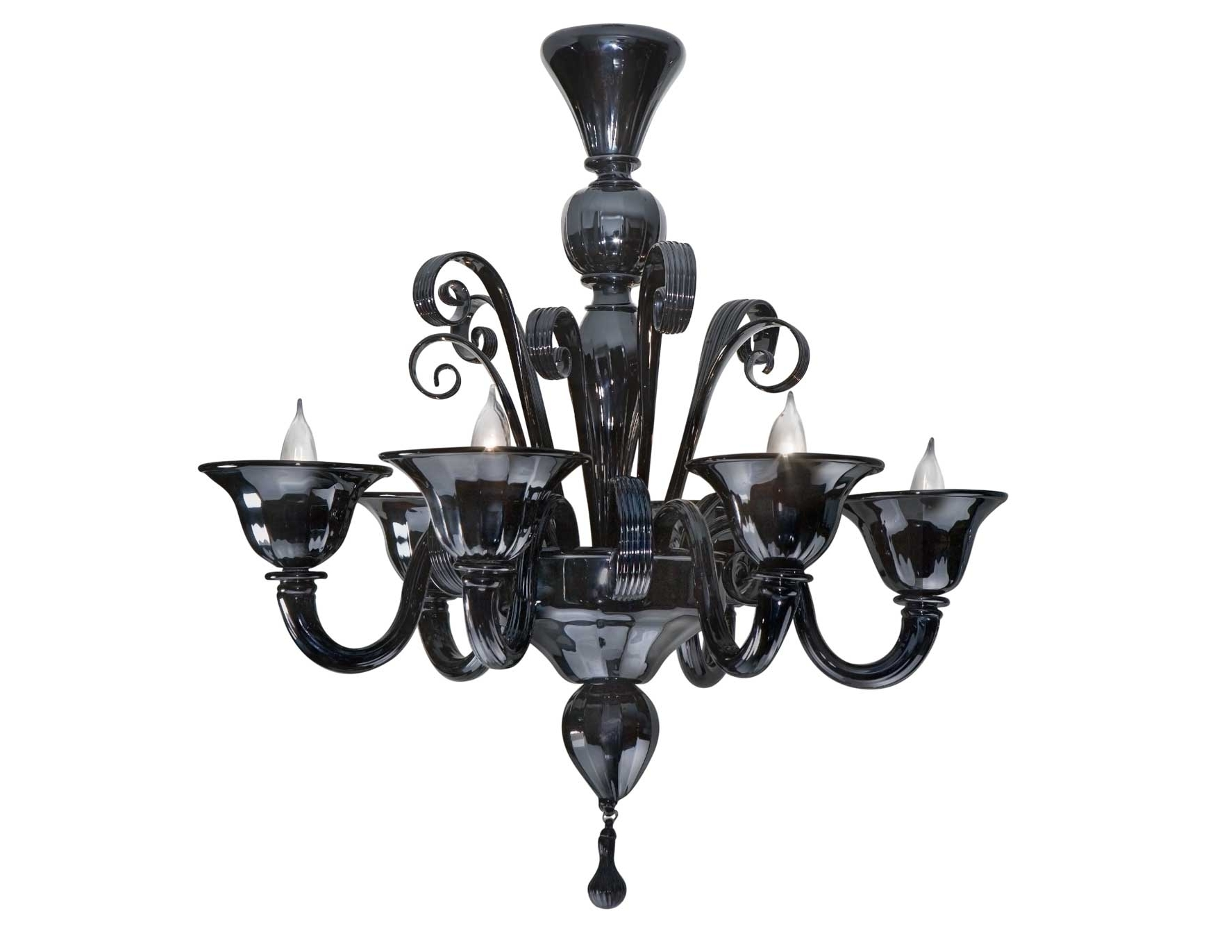 Chandelier: Astounding Black Glass Chandelier Small Black Glass With Newest Black Glass Chandeliers (View 3 of 15)