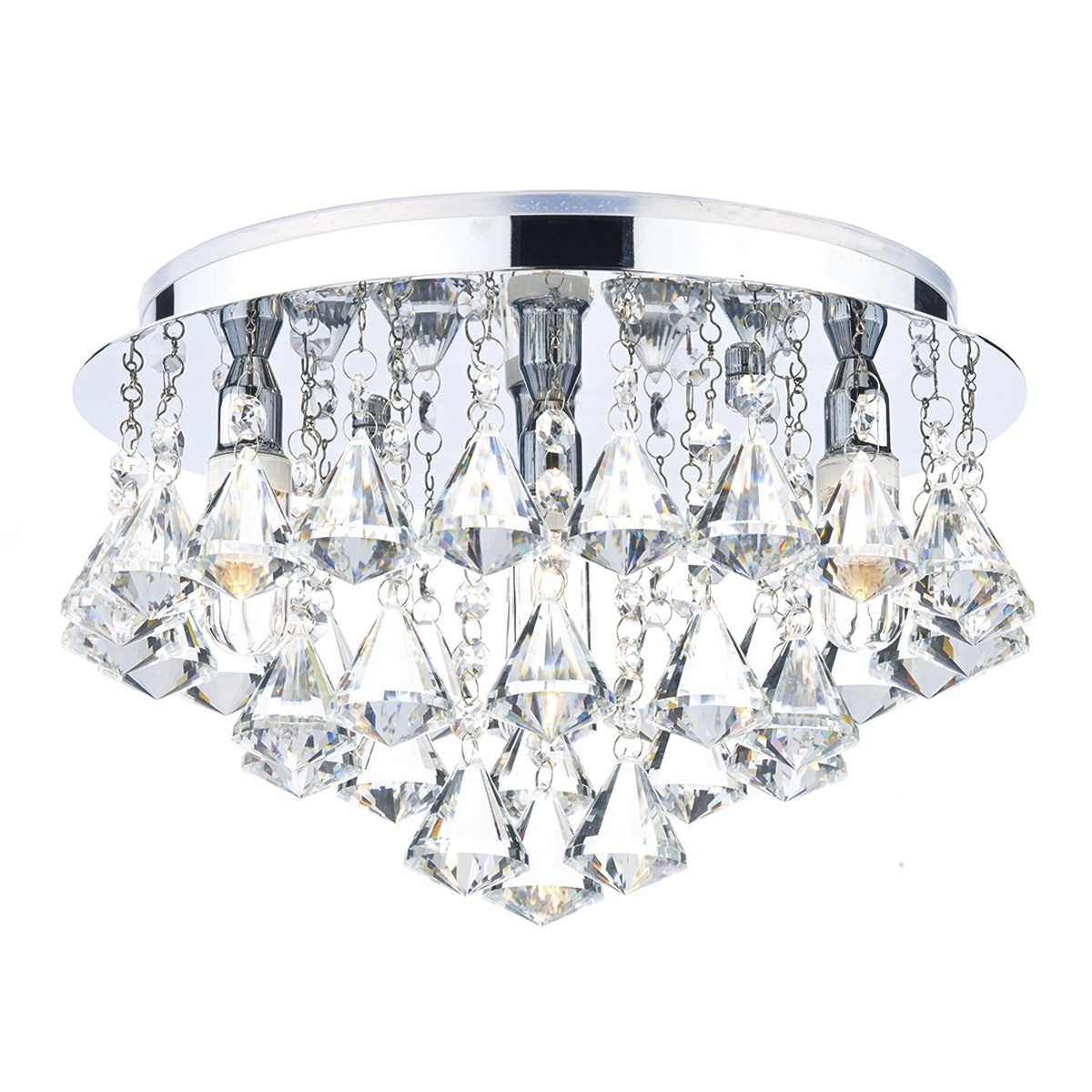 Chandelier Bathroom Ceiling Lights With Regard To Current Dar Fri0450 Fringe Flush Bathroom Ceiling Light (View 11 of 15)