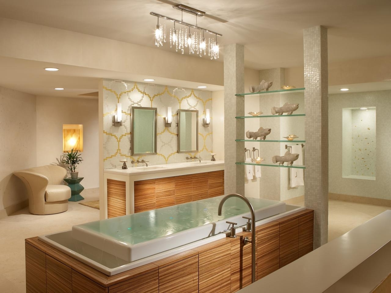 Chandelier Bathroom Lighting Regarding Famous Amusing Modern Bathroom Lighting Large Sink With A Small Chandelier (View 7 of 15)