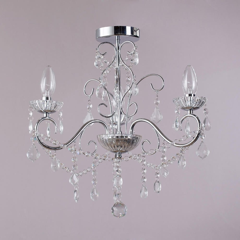 Chandelier For Low Ceiling Throughout Popular Vara 3 Light Bathroom Chandelier – Chrome From Litecraft (View 3 of 15)