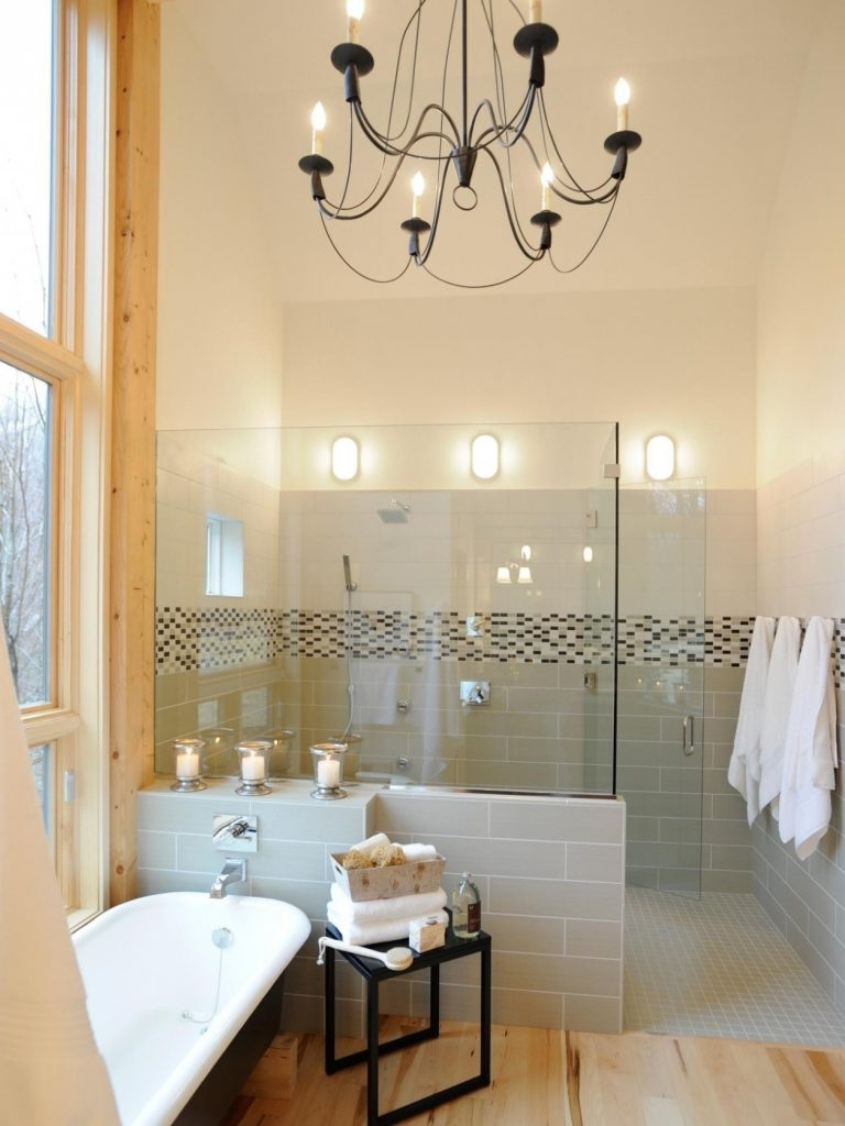 Chandelier In The Bathroom Throughout Most Current Chandelier ~ Bathrooms Design : Small Bathroom With White Bathtub (View 13 of 15)