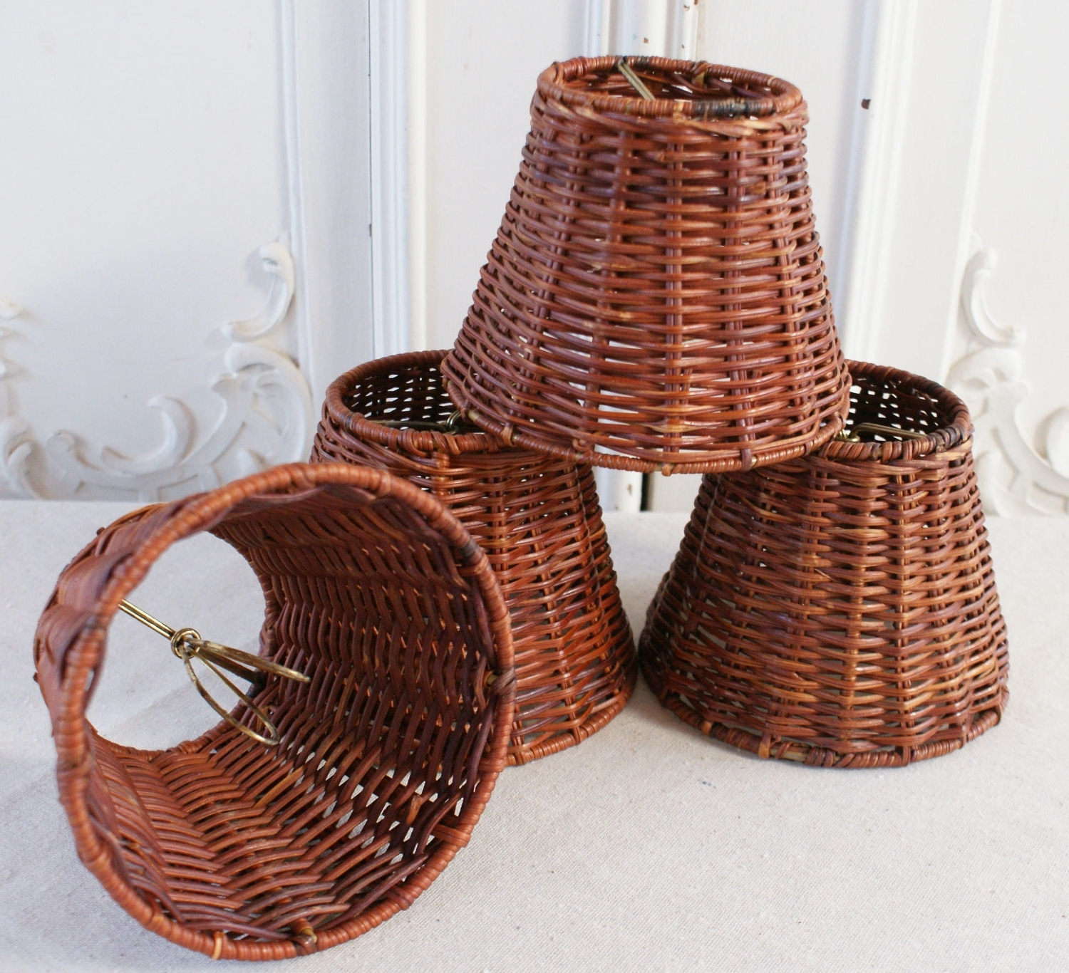 Chandelier Lamp Shades Clip On For 2017 Chandeliers Design : Marvelous Wicker Chandelier With Lamp Shades (View 4 of 15)