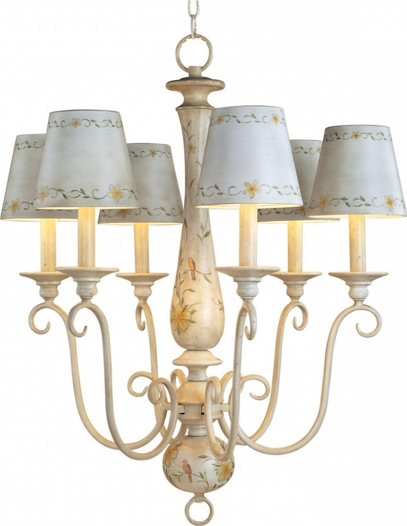 Chandelier Lampshades With Regard To Well Liked Furniture : Antique French Country Mini Chandelier With Ceramic Lamp (View 8 of 15)