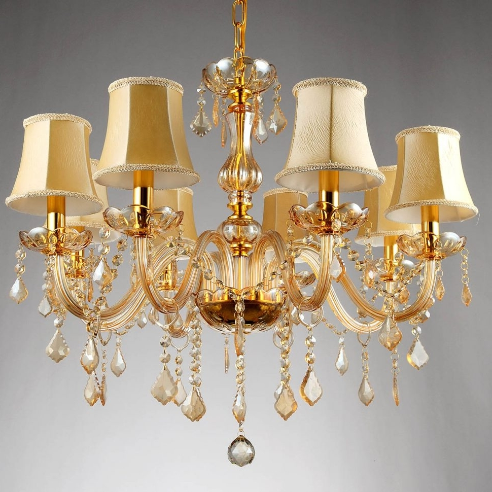 Chandelier Lighting : Free Ship Arms Fashion Crystal Chandelier With Regard To Well Known Crystal Gold Chandelier (View 3 of 15)