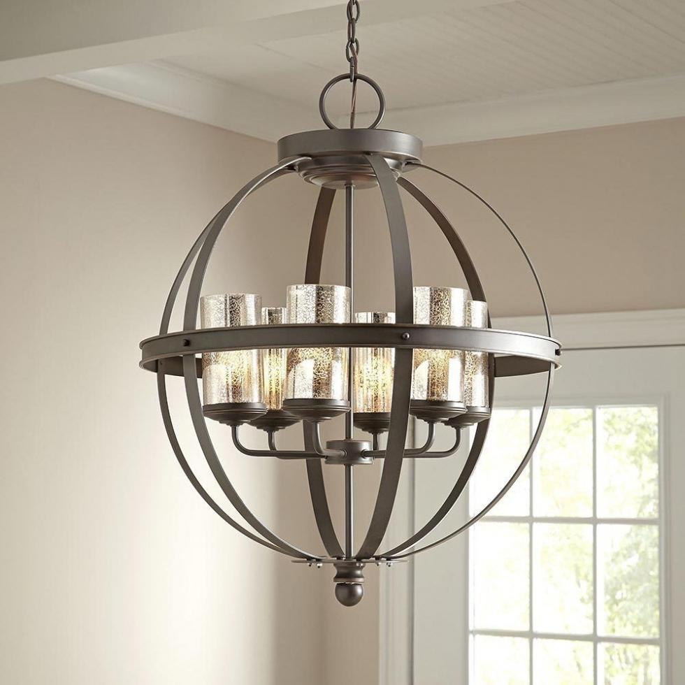 Chandelier ~ Modern 6 Light Globe Chandelier Orb Pendant Lighting Within Latest Chandelier Globe (View 5 of 15)