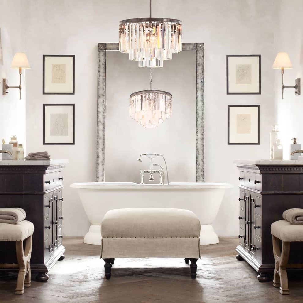 Chandelier : Vintage Bathroom Lighting Bathroom Cabinets With Lights With Well Known Chandelier Bathroom Lighting Fixtures (View 6 of 15)