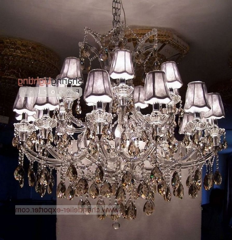Chandelier With Shades And Crystals Pertaining To Famous Chandeliers Design : Amazing Brilliant Shade Chandelier With (View 3 of 15)