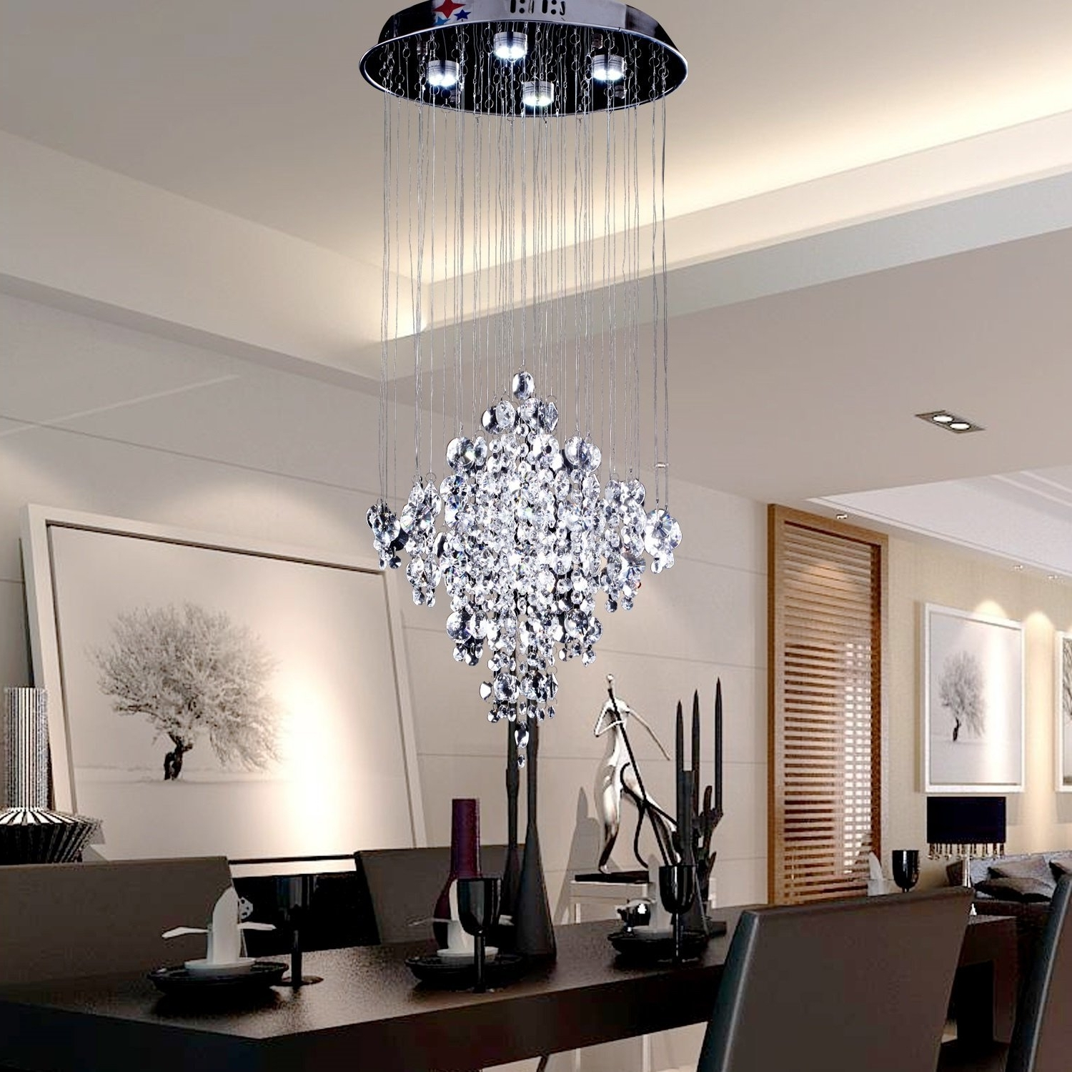 Chandeliers Design : Wonderful Crystal Contemporary Chandelier With Regard To Latest Contemporary Chandeliers (View 3 of 15)